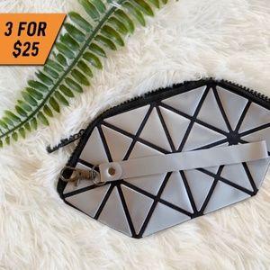 Handbags - GRAY GEOMETRIC CONVERTIBLE WRISTLET MAKE UP BAG